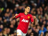 Javier Hernandez celebrates scoring the second for United