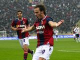 Alberto Gilardino celebrates scoring for Bologna on November 18, 2012