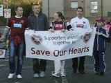 Hearts fans try to raise money for the club before their game with St Mirren November 17, 2012
