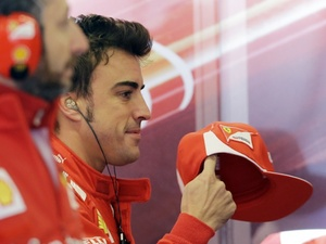 Ferrari driver Fernando Alonso at F1 qualifying in Austin, Texas on November 17, 2012