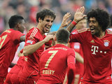 Franck Ribery celebrates his goal with teammates on November 24, 2012