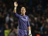 A frustrated Joe Hart waves to fans after the final whistle on November 21, 2012