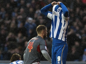 Brighton striker Ashley Barnes rues a missed penalty against Bolton on November 24, 2012