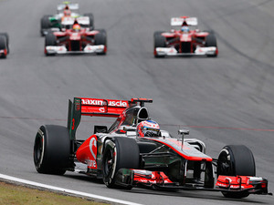 Jenson Button leads the race at Interlagos on November 25, 2012