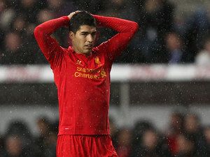 Luis Suarez moments after missing a shot on goal on November 25, 2012