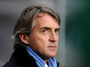 Manchester City manager Roberto Mancini on the touchline during the match against Chelsea on November 25, 2012