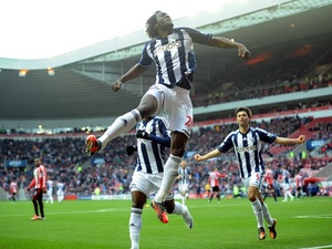 West Brom striker Romelu Lukaku celebrates his penalty on November 24, 2012