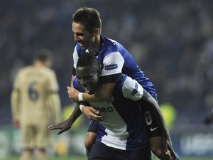 Silvestre Varela is mounted by Moutinho after scoring for Porto on November 21, 2012