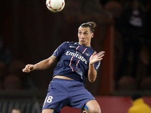 Zlatan Ibrahimovic in action for Paris Saint-Germain against Troyes on November 24, 2012