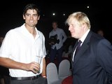 Alastair Cook and Boris Johnson in India on November 28, 2012
