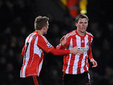 Craig Gardner celebrates with Sebastian Larsson moments after scoring on December 2, 2012