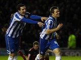 Dean Hammond celebrates scoring for Brighton on November  27, 2012