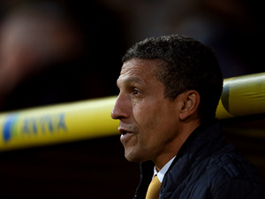 Norwich City manager Chris Hughton on the touchline during the match against Sunderland on December 2, 2012