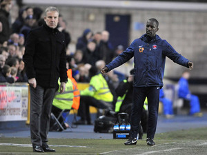 Charlton Athletic manager Chris Powell and Millwall manager Kenny Jackett on the touchline on December 1, 2012