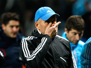 Marseille coach Elie Baup on the touchline on November 28, 2012