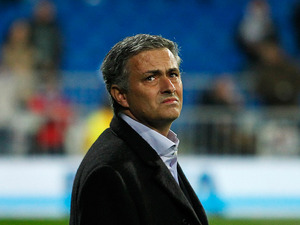 Real Madrid coach Jose Mourinho on the touchline before the start of the match against Atletico Madrid on December 1, 2012
