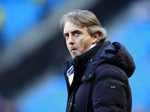 Manchester City manager Roberto Mancini on the touchline during the match against Everton on December 1, 2012