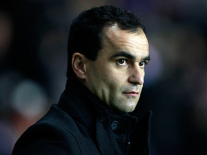 Wigan manager Roberto Martinez during the match against Manchester City on November 28, 2012