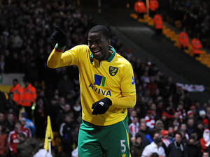 Sebastien Bassong celebrates moments after scoring the opener on December 2, 2012