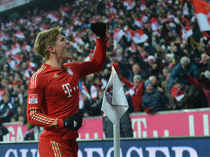 Bayern Munich's Toni Kroos celebrates after scoring his team's goal on December 1, 2012