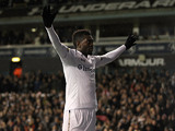 Tottenham Hotspur's Emmanuel Adebayor celebrates moments after scoring the opener on December 6, 2012