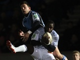 Glasgow Warriors Van Der Merwe and Castres Remi Lamerat battle for possession on December 7, 2012