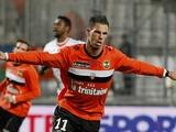 Lorient forward Jeremie Aliadiere celebrates a goal against Marseille on December 9, 2012