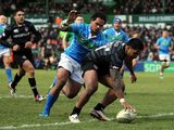 Leicester Tigers' Manu Tuilagi scores a try against Benetton Treviso on December 9, 2012
