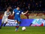 FC Dnipro Dnipropetrovsk's Nikola Kalinic scores the opener against AIK on December 6, 2012