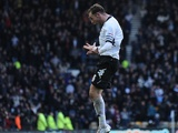 Derby skipper Richard Keogh celebrates a goal on December 8, 2012