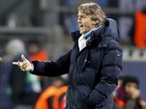 Man City manager Roberto Mancini on the touchline against Borussia Dortmund on December 4, 2012