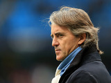 Manchester City manager Roberto Mancini on the touchline during the match against rivals Manchester United on December 9, 2012