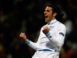 Lazio's Sergio Floccari celebrates after scoring against Maribor on December 6, 2012