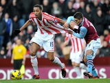 Stoke's Steven N'Zonzi is pulled back by Aston Villa's Ashley Westwood on December 8, 2012