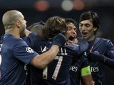 PSG players celebrate their goal against Porto on December 4, 2012