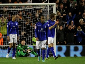 Birmingham City players walk off dejected after conceding the game's first on December 8, 2012
