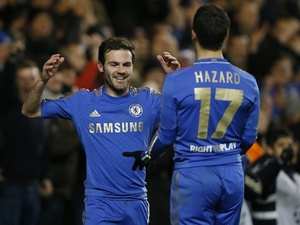 Juan Mata and Eden Hazard celebrate a Chelsea goal on December 5, 2012