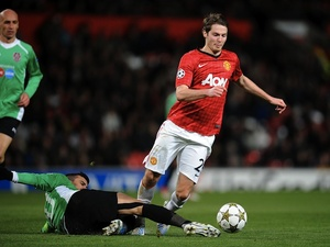 Man Utd's Nick Powell in action against Cluj on December 5, 2012