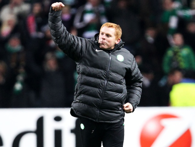Celtic boss Neil Lennon celebrates qualification on December 5, 2012