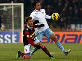 Bologna's Alessandro Diamanti and Lazio's Stefano Mauri battle for the ball on December 10, 2012