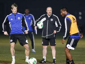 Rafa Benitez watches his players train ahead of the Club World Cup final in Yokohama on December 15, 2012