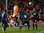 Wes Thomas rises highest to give Blackpool the lead over Blackburn on December 15, 2012