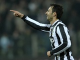 Juventus' Mirko Vucinic celebrates his goal against Cagliari on December 21, 2012
