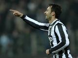 Juventus' Mirko Vucinic celebrates his goal against Cagliari on December 21, 2012