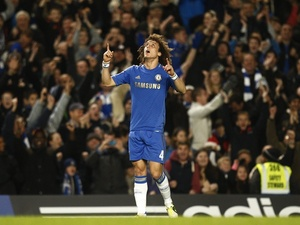 Chelsea's David Luiz celebrates his free-kick against Aston Villa on December 23, 2012