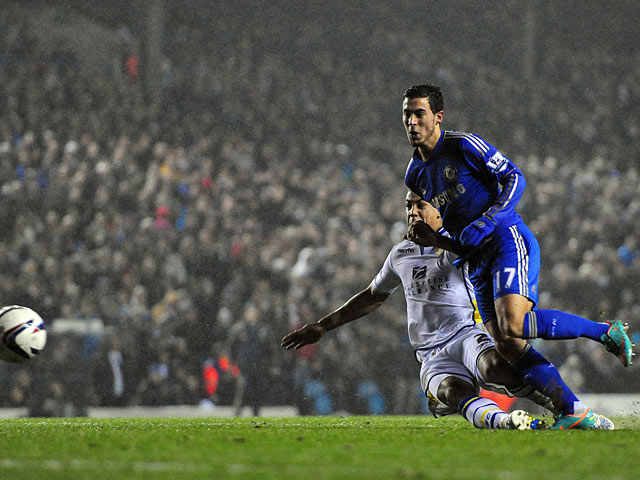 Chelsea's Eden Hazard slots home his team's fourth goal against Leeds on December 19, 2012