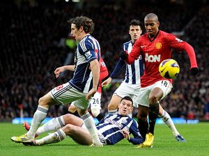 Ashley Young gets past the West Brom defence on December 29, 2012
