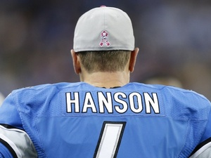 Lions veteran kicker Jason Hanson on the sideline against the Seahawks on October 28, 2012