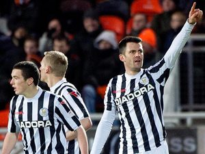 St Mirren's Steven Thompson celebrates his goal against Dundee United on December 30, 2012