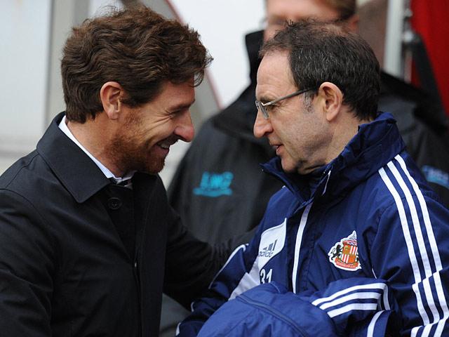 Tottenham Hotspur manager Andre Villas-Boas and Sunderland manager Martin O'Neill on December 29, 2012